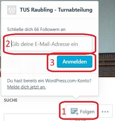 E-Mail Adresse eintragen und für den E-Mail-Versand anmelden.